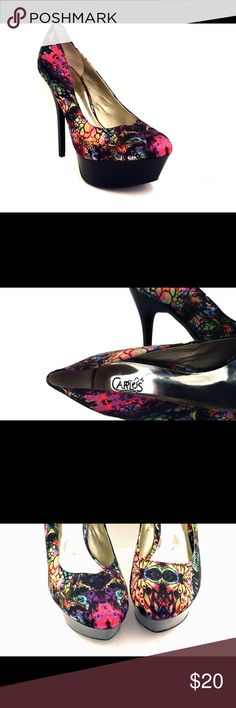 "CARLOS by Carlos Santana Satin Paisley5"" Stilettos Carlos by Carlos Santana Platform Stilettos Paisley (Multi-Colored) Fabric Upper Manmade Finely Ridged Sole Size 8 1/2 Medium Platform Rise: approx. Heel: approx. 5"" Note: In Excellent Pre-Loved Condition Thanks for Stopping By Carlos Santana Shoes Platforms"