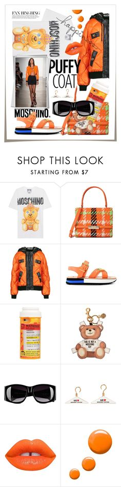 """""""Statement Coats"""" by cultofsharon ❤ liked on Polyvore featuring Moschino, Boutique Moschino, Lime Crime and Topshop"""