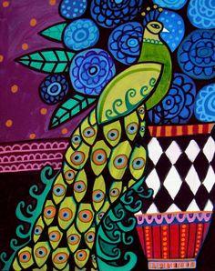 Folk Art Prints | Peacock Folk Art Painting OriginalBy Heather Galler