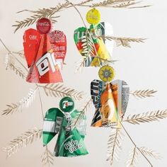 Recycled Christmas Decorations. Cute idea for school projects.