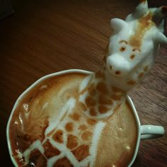 A latte giraffe! Hah! Love it!  Incredible 3D Latte Art Pops Out of the Cup - My Modern Metropolis