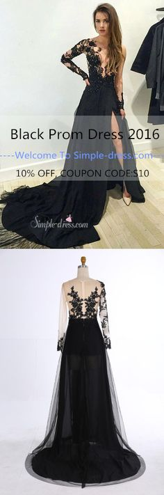 black long sleeves prom dress with lace appliques, black evening dress with train