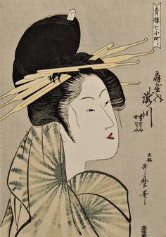 """Ukiyo-e """"Dies ist die Prostituierte Takigawa aus Ogiya"""" Künstler: Kitagawa Utamaro Nähere Informationen finden Sie auf der u.a. Website."""