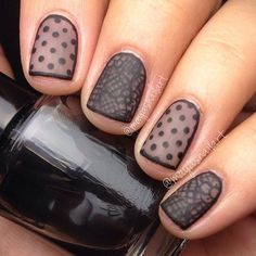 Beautiful sheer black and nude lace nails