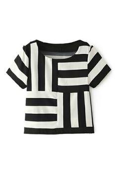 ROMWE White & Black Striped Mid-riff T-shirt