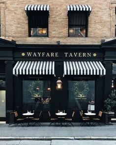 Wayfare Tavern's windows invite us to eat, drink, and be merry. Wayfare Tavern's windows invite us to eat, drink, and be merry. Cafe Shop Design, Bakery Design, Restaurant Interior Design, Store Design, Shop Front Design, Interior Design Coffee Shop, Bakery Shop Interior, Cafe Exterior, Restaurant Exterior