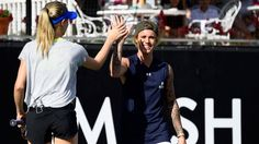 Eugenie Bouchard and her charity mixed doubles partner Justin Bieber. (Desert Smash event in California).
