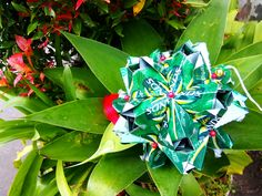 Origami Kusudama Made Of Green Sands Cans