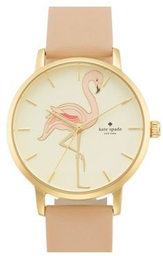 Kate Spade New York 'metro' Flamingo Dial Leather Strap Watch, 34mm