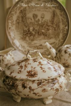 Aiken House & Gardens: Transferware Dishes