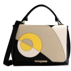 Emilio Pucci Color-Block Leather Top Handle Bag ($1,268) ❤ liked on Polyvore featuring bags, handbags, shoulder bags, purses, yellow, top handle leather handbags, yellow leather shoulder bag, colorblock handbags, genuine leather purse and color block handbag