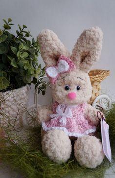 Plush beige bunny toy plush rabbit stuffed bunny от PlushCreation