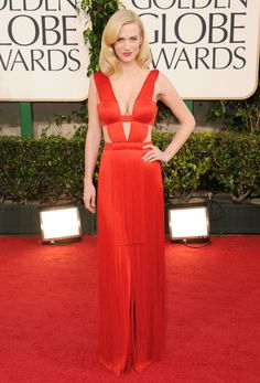 January Jones took the plunge in a red hot fringed @Official Versace for the 2011 Golden Globes