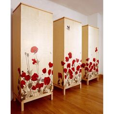 'Poppy Field' - Tall wardrobes with artistic marquetry in Sycamore and  coloured veneers.