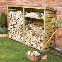 Outdoor Firewood Rack, Firewood Logs, Firewood Storage, Outdoor Storage, Log Shed, Garden Buildings, Wood Burner, Back Gardens, Outdoor Projects