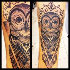 owls #tattoowithout the pointillism (dotting), i really like the symmetrical idea. The dotting would be painful as hell and they will run together after years. Maybe this drawing with shading and color. Different eyes.