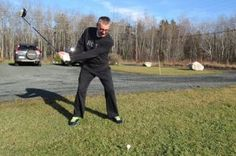 "Dave Duggan in 15 degree weather on Christmas Day 2015 hitting his Pro balls down towards Stellarton. He says that,"" one of his Abercrombie co-members, Wayne Atkinson, is supposed to hit them back but they never seem to make it. Atlantic Canada, He Said That, Balls, Weather, Tees, Day, Christmas, Yule, T Shirts"
