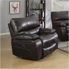 Coaster Home Furnishings Coaster 601933 Glider Recliner, Two-Tone Dark Brown, Willemse Motion Collection Living Room Chairs, Living Room Furniture, Glider Recliner Chair, Drop Down Table, Buy Chair, Chair Types, Coaster Furniture, Leather Recliner, Gliders