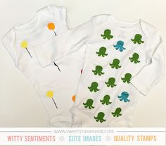 DIY Stamped Infant onesies decorated by designer Samantha Mann using the  Sweet Stamp Shop Mr. Octopus and Balloons stamp sets #sssmroctopus #sssballoons