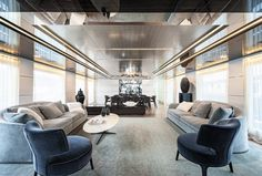 The yacht is finished in a clean, modern style with simple details from gloss macassar wood, stainless steel and white leather panels. 'It's a design that strikes a balance between cutting edge and lasting appeal,' says interior designer Dragana Maznic. 'There's a constant dialogue between light and dark, gloss and matt, cool and warm and hard and soft to create visual interest and awake the senses.'