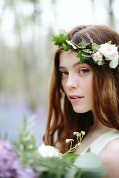 Boho bridal style with ivy flower crown for an English bluebell wood wedding // The Natural Wedding Company // M & J Photography Wedding Colors, Wedding Flowers, Wedding Dress, Woods Wedding Inspiration, Ivy Flower, English Bluebells, Wedding Venues Uk, Outdoor Wedding Photography, Wedding Company