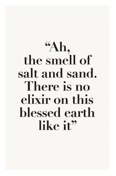 Ah, the smell of salt and sand. There is no elixir on this blessed earth like it;.