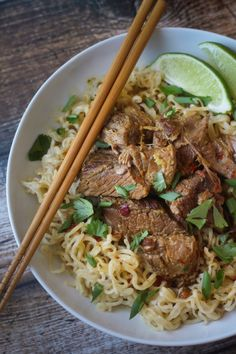 Crockpot Beef Curry with Noodles