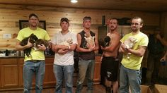 Bachelor party members come home with puppies they found in the woods.