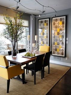 Dining room decor ideas with art pieces and upholstered chairs details. See more: http://www.brabbu.com/en/inspiration-and-ideas/