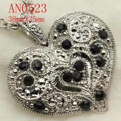 Nice Black Rhinestone Crystal Heart Necklace FREE SHIP!