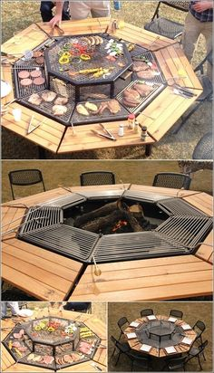 A Grill that Can Serve as a Fire Pit and Table in one. Everyone can cook their own food and enjoy each others company at the same time. I love this! [ Wainscotingamerica.com ] #backyard #wainscoting #design