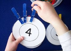 this idea could be adapted for touch math, or use the plates and put dots for more guidance.