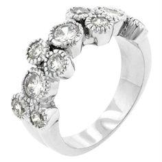 Coral Bezel Cubic Zirconia Ring