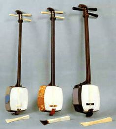 Shamisen - a traditional Japanese three-stringed lute with a square body, played with a large plectrum.