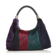Sharif Colorblock Large Faux Fur and Leather Hobo