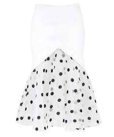 Show details for Pencil Skirt with Dotted Tulle Peplum in White