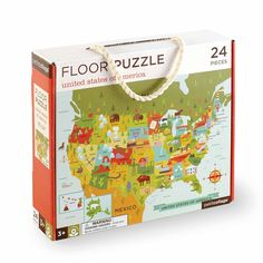 """USA Floor Puzzle  Animals, plants and landmarks are easy to remember after completing this floor puzzle.  These floor puzzles present a challenge after a child masters beginner puzzles.  Twenty-four 5""""x5"""" study pieces create a large 18""""x24"""" puzzle featuring Petit Collage's signature cheerful artwork.  The puzzle comes in a sturdy cardboard box with a soft cotton rope handle, easy to carry or to gift! Made with recycled paper, and printed with vegetable inks.  Ages: 3+"""