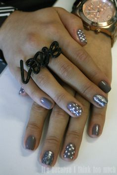 Cute, although I think i'd do sparkle on the thumbs instead of polka dots