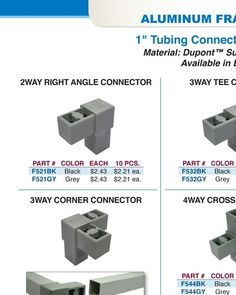 "Aluminum Framing System 1"" Tubing Connectors & Accessories - Outwater"