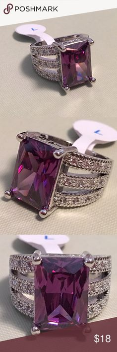 925 Sterling Silver Royal Purple CZ Fashion Ring 925 Sterling Silver Royal Purple Cubic Zirconia CZ  Party Ring Jewelry Rings