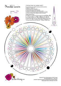 Mandala du cycle féminin lunaire. Je note : la date, la météo de mon cœur, l'animal qui s'incarne en moi. Je mets des couleurs et des mots qui m'inspirent.