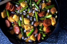 asparagus with chorizo and croutons by smitten, via Flickr