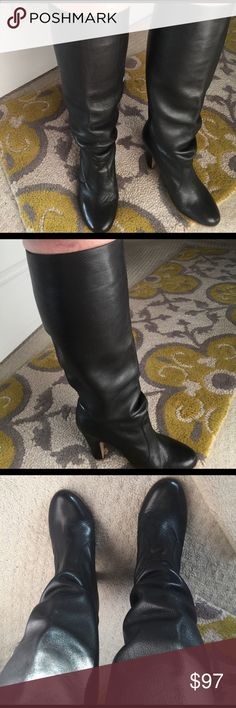 ALDO boots size 40 Beautiful black boots  us 9 measures 10.1 inches according to their size chart.  Worn once! Too tight on my calf. These measure about 15 in circumference tall boot fits just below the knee. 4 inch heel. Aldo Shoes Heeled Boots