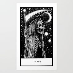 Death Tarot card illustration with skeleton grim reaper. Pen on bristle board