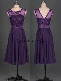 dark purple chiffon bridesmaid dresses unique rhinestones and beaded prom gowns round-neck short homecoming dress v-back holiday dress hot