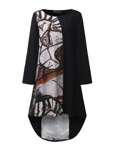 Vintage Printing Round Neck Asymmetrical Hem Dress For Women