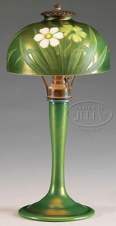 RARE TIFFANY STUDIOS INTAGLIO CUT LAMP.