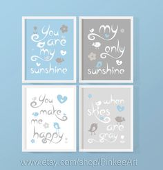 you are my sunshine my only sunshine boy blue gray birds, nursery quote print with birds, baby shower gift, nursery typography print set of 4 by PinkeeArt, $29.00