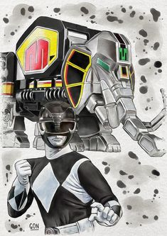 Black Ranger by GoNIllustator on DeviantArt Power Ranger Black, Green Ranger, Powe Rangers, Power Rangers Operation Overdrive, Magic Knight Rayearth, Digital Ink, Watercolor Red, Mighty Morphin Power Rangers, Thundercats