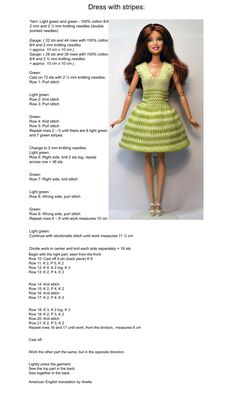 Barbie Knitting Patterns, Barbie Clothes Patterns, Doll Dress Patterns, Knitting Dolls Clothes, Crochet Barbie Clothes, Baby Doll Clothes, Knit Patterns, Clothing Patterns, Crochet Doll Dress